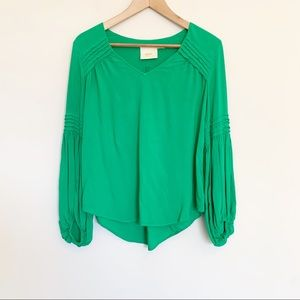 Anthro Maeve Kelly Green Statement Sleeve Blouse